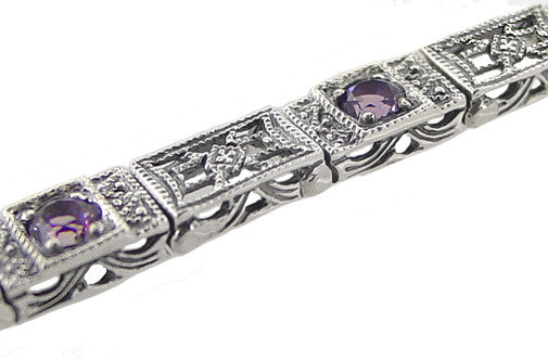 Art Deco Filigree Straightline Amethyst Bracelet in Sterling Silver - Item: SSBR8 - Image: 1