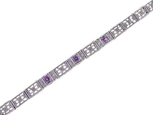 Art Deco Filigree Straightline Amethyst Bracelet in Sterling Silver