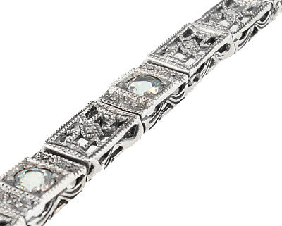 Art Deco Filigree Straightline Blue Topaz Bracelet in Sterling Silver - Item: SSBR8BT - Image: 1