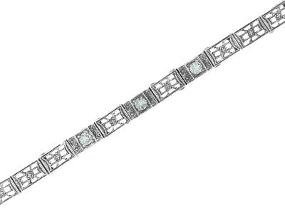 Art Deco Filigree Straightline Blue Topaz Bracelet in Sterling Silver