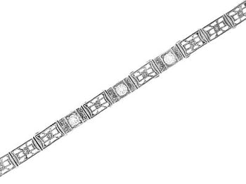 Art Deco Straightline Cubic Zirconia Filigree Bracelet in Sterling Silver