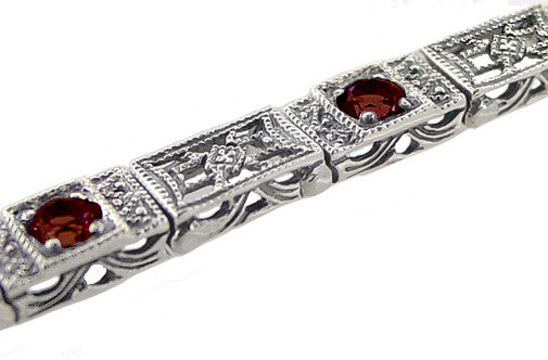 Art Deco Filigree Straightline Almandine Garnet Bracelet in Sterling Silver - Item: SSBR8G - Image: 1