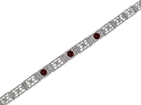 Art Deco Filigree Straightline Almandine Garnet Bracelet in Sterling Silver