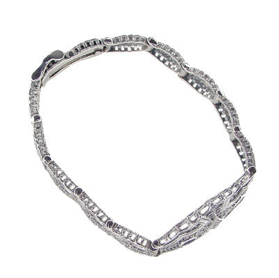 Art Deco Marquise Sapphire and Diamond Filigree Bracelet in Sterling Silver - Item: SSBR9 - Image: 1