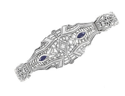 Art Deco Marquise Sapphire and Diamond Filigree Bracelet in Sterling Silver