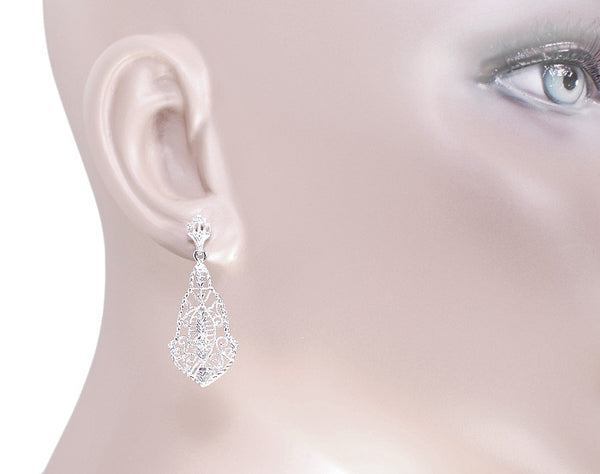 Art Deco Diamonds and Scrolls Filigree Dangling Earrings in Sterling Silver - Item: SSE127 - Image: 2