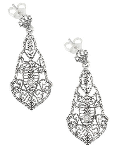 Art Deco Diamonds and Scrolls Filigree Dangling Earrings in Sterling Silver - Item: SSE127 - Image: 1