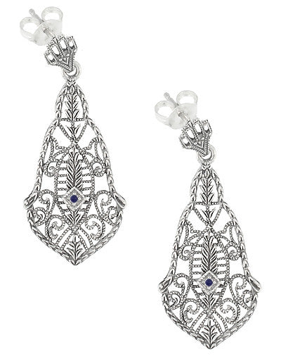 Art Deco Filigree Sapphires and Scrolls Dangling Earrings in Sterling Silver - Item: SSE127S - Image: 1