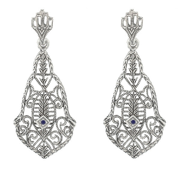 Art Deco Filigree Sapphires and Scrolls Dangling Earrings in Sterling Silver