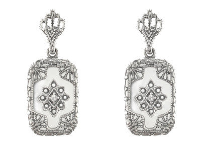 Filigree Crystal and Diamonds Art Deco Earrings in Sterling Silver