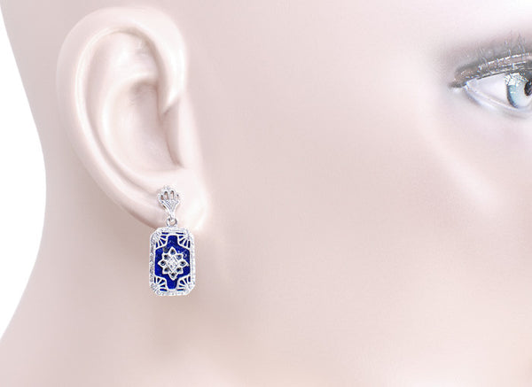 Art Deco Filigree Lapis Lazuli and Diamond Earrings in Sterling Silver, 1920s Vintage Engraved Design - Item: SSE1L - Image: 1