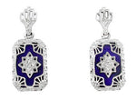 Art Deco Filigree Lapis Lazuli and Diamond Earrings in Sterling Silver, 1920s Vintage Engraved Design
