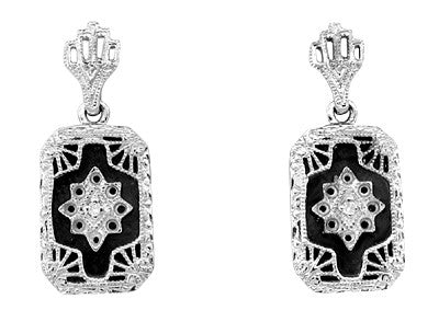 Art Deco Filigree Onyx and Diamond Set Earrings in Sterling Silver