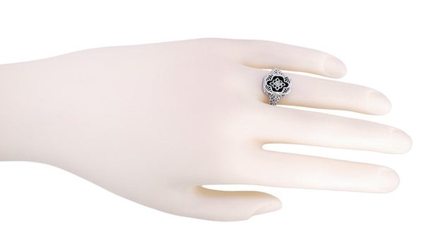 Art Deco Filigree Onyx and Diamond Ring in Sterling Silver - Item: SSR11 - Image: 3