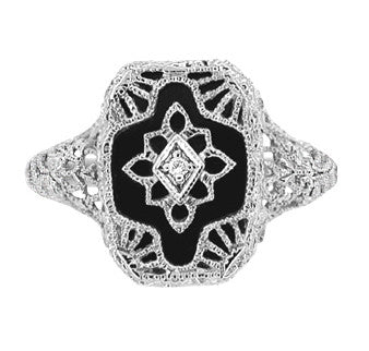 Art Deco Filigree Onyx and Diamond Ring in Sterling Silver - Item: SSR11 - Image: 1