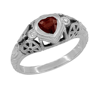 Art Deco Filigree Heart Shaped Almandine Garnet Promise Ring in Sterling Silver