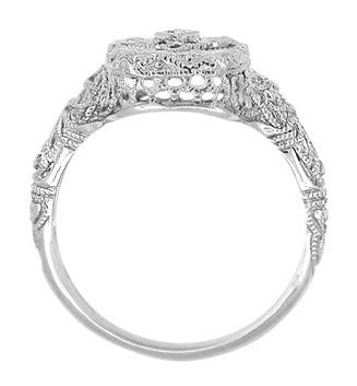Art Deco Filigree Camphor Crystal and Diamond Ring in Sterling Silver - Item: SSR11C - Image: 2