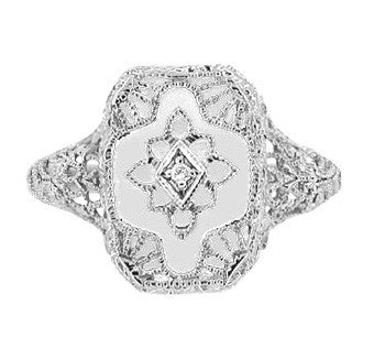 Art Deco Filigree Camphor Crystal and Diamond Ring in Sterling Silver - Item: SSR11C - Image: 1