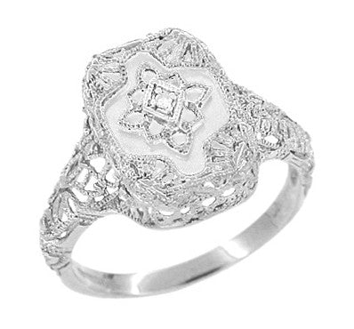 Art Deco Filigree Camphor Crystal and Diamond Ring in Sterling Silver