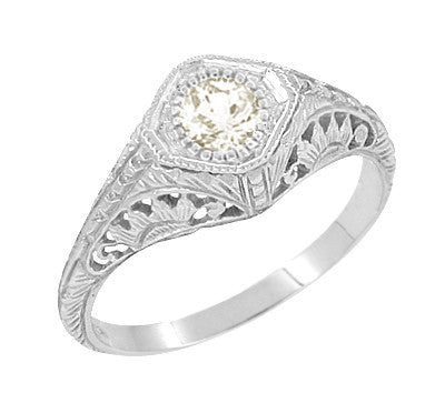 Art Deco 1/3 Carat Diamond Filigree Engagement Ring in Sterling Silver