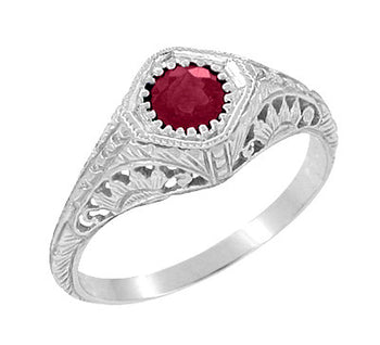Filigree Art Deco Low Profile Ruby Promise Ring in Sterling Silver