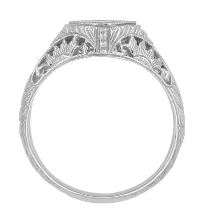 Art Deco Sterling Silver Filigree Sappphire Promise Ring | Low Profile - Item: SSR1207S - Image: 1