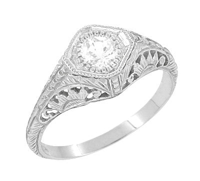 Art Deco Filigree White Topaz Promise Ring in Sterling Silver