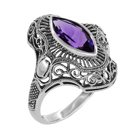Art Deco Marquise Amethyst Filigree Cocktail Ring in Sterling Silver - Item: SSR12A - Image: 1