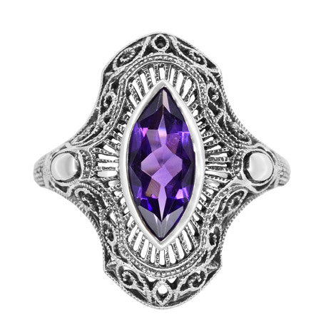 Art Deco Marquise Amethyst Filigree Cocktail Ring in Sterling Silver