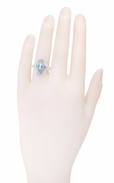 Art Deco Marquise Blue Topaz Filigree Cocktail Ring in Sterling Silver - Item: SSR12BT - Image: 3