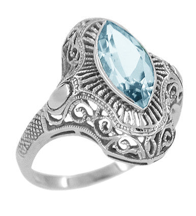 Art Deco Marquise Blue Topaz Filigree Cocktail Ring in Sterling Silver - Item: SSR12BT - Image: 1