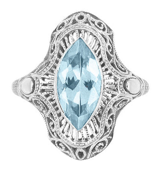 Art Deco Marquise Blue Topaz Filigree Cocktail Ring in Sterling Silver