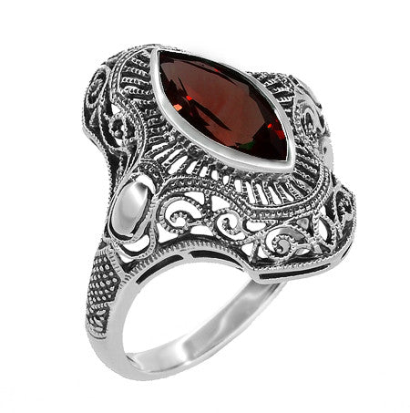 Art Deco Filigree Marquise Garnet Cocktail Ring in Sterling Silver - 2.80 Carats - Item: SSR12G - Image: 1