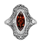 Art Deco Filigree Marquise Garnet Cocktail Ring in Sterling Silver - 2.80 Carats