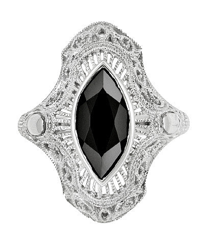 Sterling Silver Filigree Marquise Black Onyx Art Deco Cocktail Ring