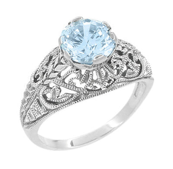 1.45 Carat Blue Topaz Promise Ring in Sterling Silver | Edwardian Filigree Dome Solitaire
