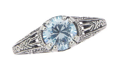 Art Deco Filigree Engraved Blue Topaz Promise Ring in Sterling Silver - Item: SSR14 - Image: 2
