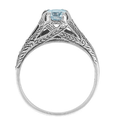 Art Deco Filigree Engraved Blue Topaz Promise Ring in Sterling Silver - Item: SSR14 - Image: 1