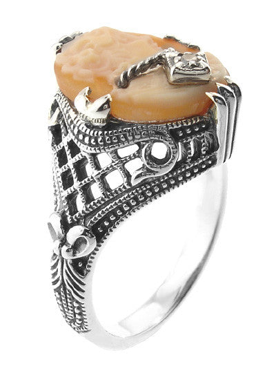 Art Deco Filigree Carnelian Shell Cameo Ring with Diamond  in Sterling Silver - Item: SSR15 - Image: 2