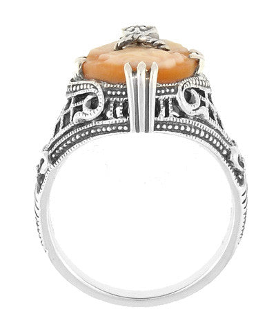 Art Deco Filigree Carnelian Shell Cameo Ring with Diamond  in Sterling Silver - Item: SSR15 - Image: 3