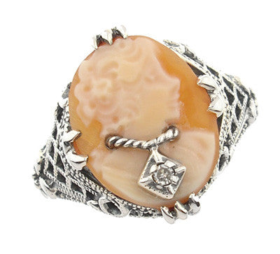 Art Deco Filigree Carnelian Shell Cameo Ring with Diamond  in Sterling Silver - Item: SSR15 - Image: 1