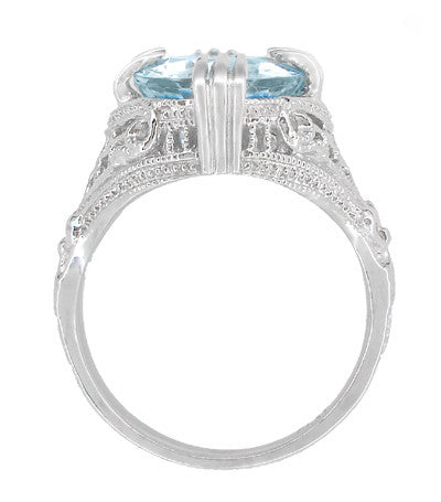Art Deco Filigree Claw Prong Oval Blue Topaz Statement Ring in Sterling Silver - 4.75 Carats - Item: SSR157BT - Image: 3