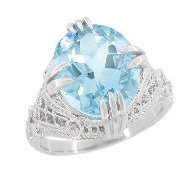 Art Deco Filigree Claw Prong Oval Blue Topaz Statement Ring in Sterling Silver - 4.75 Carats - Item: SSR157BT - Image: 2