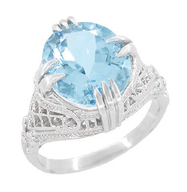 Art Deco Filigree Claw Prong Oval Blue Topaz Statement Ring in Sterling Silver - 4.75 Carats