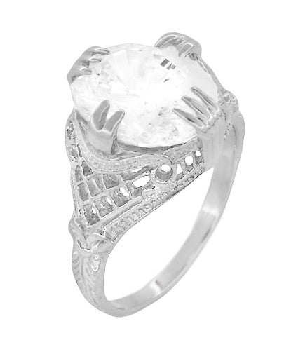 Art Deco Filigree Engraved Oval Cubic Zirconia ( CZ ) Statement Ring in Sterling Silver - 7 Carats - Item: SSR157CZ - Image: 2