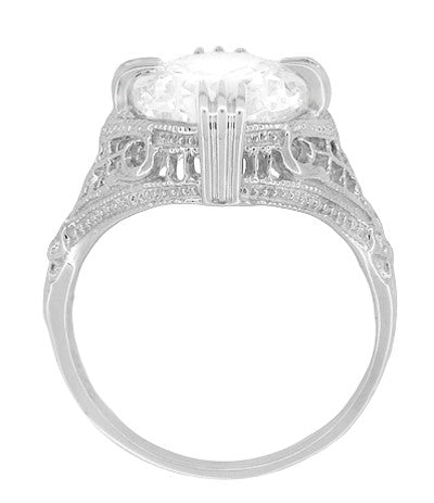 Art Deco Filigree Engraved Oval Cubic Zirconia ( CZ ) Statement Ring in Sterling Silver - 7 Carats - Item: SSR157CZ - Image: 3