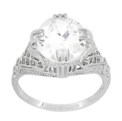 Art Deco Filigree Engraved Oval Cubic Zirconia ( CZ ) Statement Ring in Sterling Silver - 7 Carats - Item: SSR157CZ - Image: 1