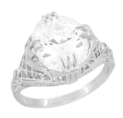 Art Deco Filigree Engraved Oval Cubic Zirconia ( CZ ) Statement Ring in Sterling Silver - 7 Carats