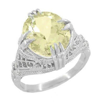 Art Deco Oval Filigree Lemon Quartz Statement Ring in Sterling Silver | 4.35 Carats