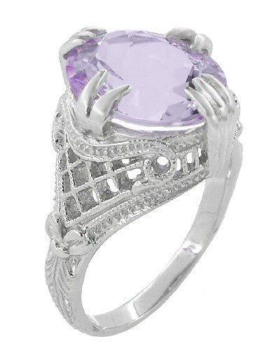 Art Deco Oval Filigree Rose de France Statement Ring in Sterling Silver | 4.5 Carats - Item: SSR157RF - Image: 2